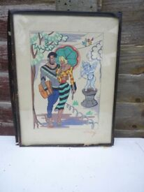 watercolour of man and woman, 1950's by Zirchoff