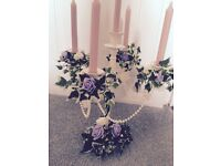 Wedding candelabra with flowers and pearls