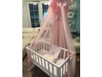 Bethany swing crib with matching canopy & bright start activity bouncer.