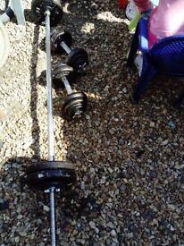 Weights set 55 kg barbell dumbbells