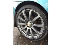 "Kei Racing Force 10 - 17"" Alloys - with very good tyres"