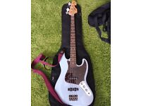 Indie Jazz Bass Guitar, with Fender Padded Gig Bag plus straps