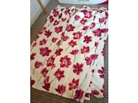 'Dunelm' Conservatory/Bay Window Hand-Made Curtains (Poppy/Ivory) 208cm / 269cm.
