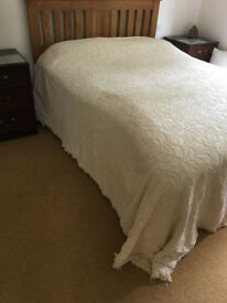 Cotton Throw / Bedcover - 270cm x 250cm, cream, self patterned with tassle edging