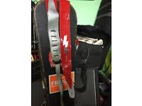 Patent Red and silver Gibson leather guitar strap