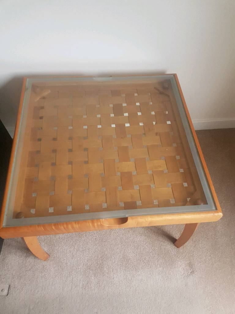 Glass and wood table.
