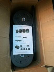 Dumbbell and barbell set (brand new)