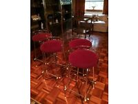 Vintage bar stools x 4 red and gold