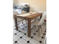Real Oak Dining Table with 4 Dining Chairs
