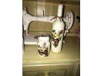 Shabby chic bottle and jar set