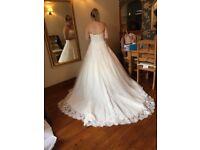 Wedding dress, underskirt and veil
