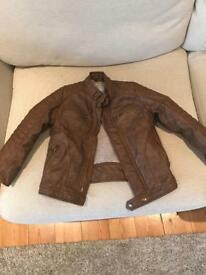 Zara boys brown leather jacket