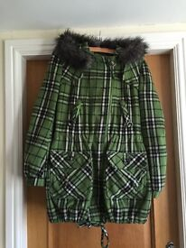 Next green check coat with Fur around hood