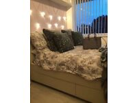 Double White faux leather bed