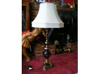 """Large 40.5"""" Antique Vintage Style Brass & Marble Base Italian Table Floor Lamp"""