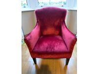 Beautiful red velvet antique armchair for sale for £100 ONO