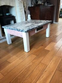 Coffee table pine painted in country pine and pebble grey