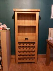 Tall solid oak wine cabinet