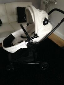 White leatherette Pushchair Single Seat Stroller,Carrycot with raincover