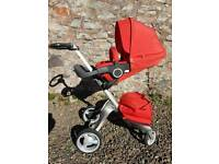 Stokke Xplory V3 buggy / stroller/ pushchair red including pram base