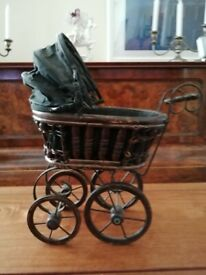 VINTAGE (ANTIQUE?) WOOD AND WICKER DOLL'S PRAM