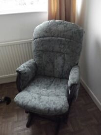 'Dutailer' Rocking chair and rocking footstool. Blue/grey upholstered. VGC