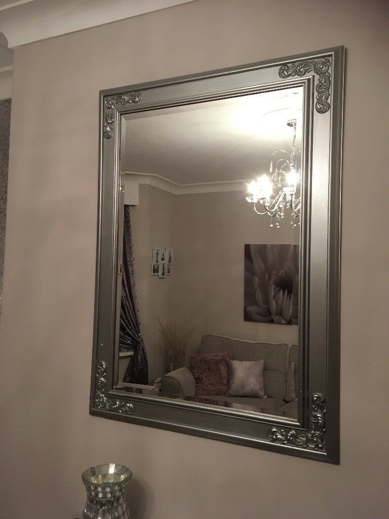 Large brushed silver mirror