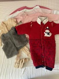 Baby girl clothes bundle 6-9 months 8 items including pramsuit
