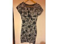 Boohoo grey black glitter velvet patterned damask flower bodycon dress