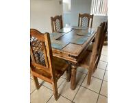 Dark wood Mexican pine/ sheesham style dining table with 6 solid chairs