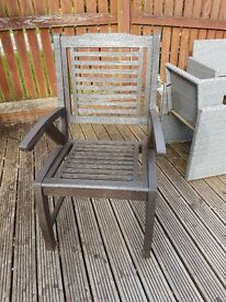 Six hardwood garden chairs for sale. Five brand new still in boxes.