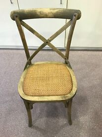 24x Natural wood, cross cross back chairs with rattan seat pad