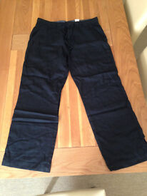 "Next Men's Black Linen Trousers (36""R) (never worn)"