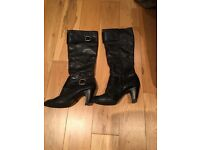 Dune Black Leather Knee High Boots - Size 5