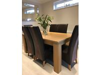 Oak effect rectangle dining table & 6 chairs