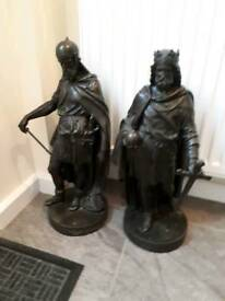 Victorian spelter figures x 2 stands 20 inches high offers