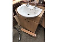 Sink, taps and cabinet