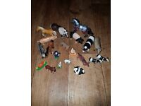 Set of toy farm animal figures. Includes some Schleich ones