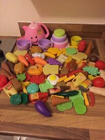 Plastic singing fisher price teapot, teaset and food