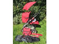 Musty 4 Rider pushchair in red team college 01 theme
