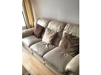 Cream 3 Seater Sofa With Recliners