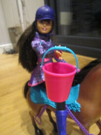 BARBIE DOLL WITH PINK STREAKS TO HAIR, BROWN HORSE AND ACCESSORIES