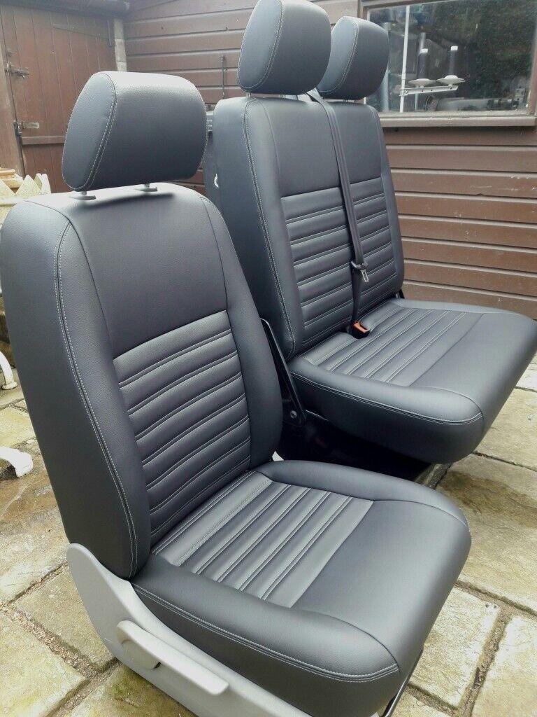 Black Motor Bike Seat T5 Van Car Seat Vinyl Fabric Stitched
