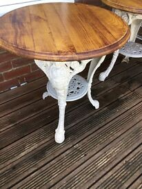 Two original CAST IRON circular tables