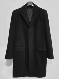 Mens Black Overcoat - Wool Blend - Excellent Condition