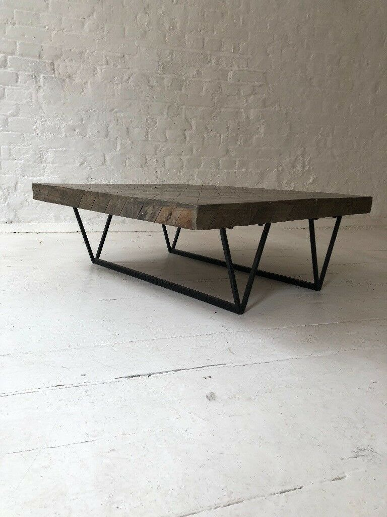 Square Wooden Parquet Modern Coffee Table Metal Leg Industrial