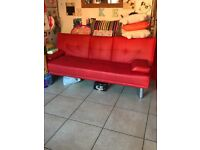 Red leather Manhattan cinema style sofa
