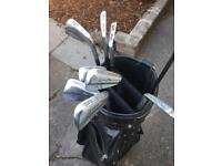 Mizuno pro golf clubs, driver and ping bag