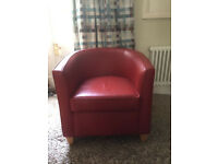 Pair of Red Leather Armchairs