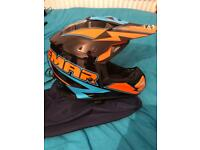 Motorcycle helmet with goggles. Size large